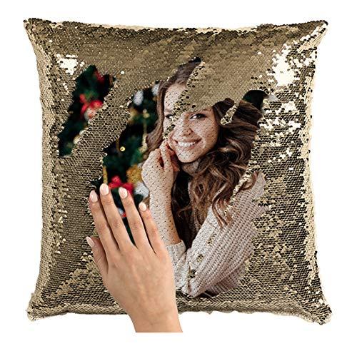 Romenoir Photo Magic Pillow Custom Lentejuelas Throw Pillow Cover Print Picture Cojín Tallado Cuadrado Decoración Funda De Almohada Personalizada Navidad Aniversario Cumpleaños Ideas Champán Una Cara