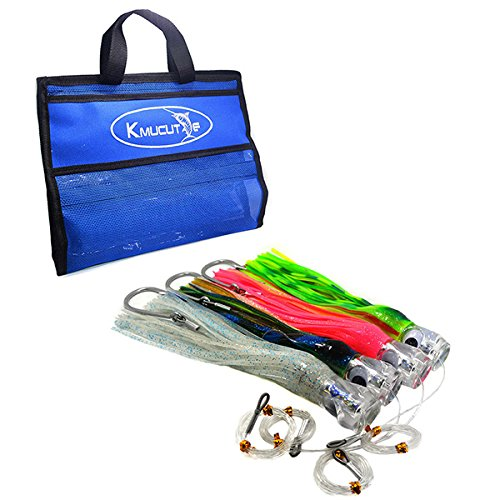 kmucutie 4 pcs/Bag 11 inch Octopus Skirted Offshore Game Fishing Lures Marlin Tuna Wahoo Dolphin Lures