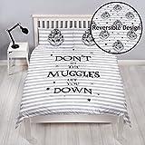 Harry Potter Juego de Funda de edredón Cama Doble, diseño Reversible de Dos Caras «Don't Let The Muggles»