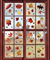 CCINEE 216pcs Maple Window Clings 8 Sheets Fall Leaves Assorted Maple Oak Leaves Acorns Window Stickers for Autumn Thanksgiving Halloween Seasonal Holiday Glass Window Decorations