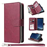 ZCDAYE Wallet Case for Samsung Galaxy S9,Premium[Magnetic Closure][Zipper Pocket] Folio PU Leather Flip Case Cover with 9 Card Slots Kickstand for Galaxy S9-Red