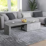 FAMIROSA Coffee Table with Storage Cabinet Chipboard Sofa and Couch End Side Table for Living Room Home Furniture 59.1 x 19.7 x 13.8 Inches (L x W x H) (Concrete Gray)