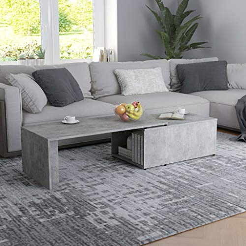 FAMIROSA Coffee Table with Storage Cabinet Chipboard Sofa and Couch End Side Table for Living Room Home Furniture Concrete Gray 59.1 x 19.7 x 13.8 Inches (L x W x H)