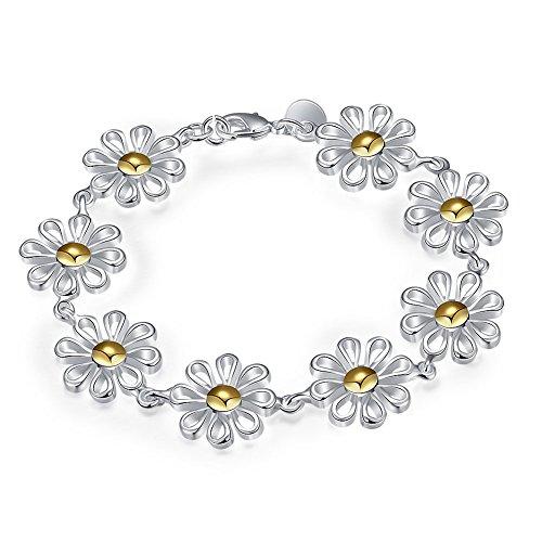 Nykkola Wunderschönes Armband/Armreif mit Sonnenblumen-Design für Damen, versilbert 925 Sterling-Silber