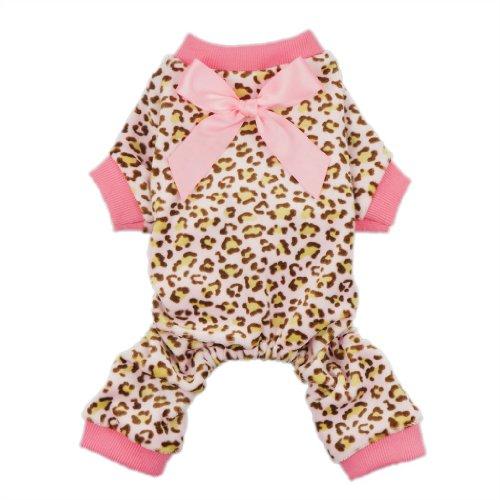 Fitwarm Leopard Ribbon Soft Velvet Dog Pajamas for Pet Dog Clothes Comfy Pjs, Small