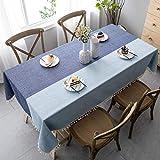 Pahajim Manteles De Mesa Estilo Simple Manteles Mesa Rectangular con Borla Diseñada Empalme a Rayas Decoración de Mesa de Jardín(Rectangular/Oval, 140 x 200cm)