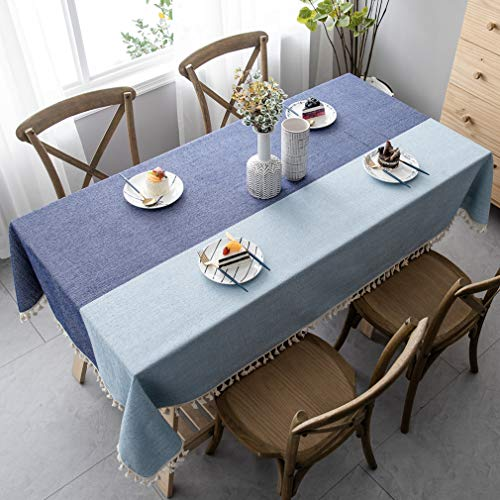 Pahajim Manteles De Mesa Estilo Simple Manteles Mesa Rectangular con Borla Diseñada Empalme a Rayas Decoración de Mesa de Jardín(Rectangular/Oval, 140 x 240cm)