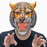 CreepyParty Máscara de Tigre Máscaras de Cabeza de Animal de Látex Realistas para Halloween Desfile de Carnaval Fiesta de Disfraces