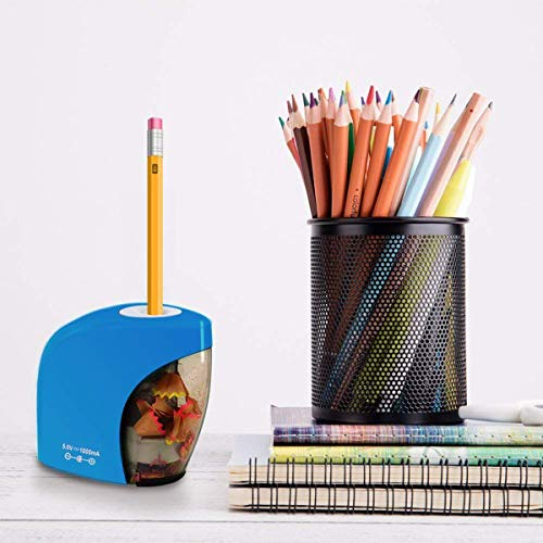 Pencil Sharpener,Electric Pencil Sharpener for NO.2 Pencils and Colored Pencils,Portable Automatic Electric Sharpener Feature for Home/School/Classroom/Office,USB or 2AA Batteries BLUE Photo #9