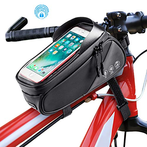 Ertisa Fahrrad Rahmentasche wasserdichte Fahrradtasche Oberrohrtasche Handytasche mit Sonnenblende Kopfhörerloch TPU Touchscreen Fahrrad Handyhalter für Smartphones bis 7,5 Zoll