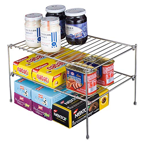 YQh Kitchen Counter and Cabinet Shelf, Counter Shelf Organizer, Kitchen organizers, Layered shelf, Double Expandable Counter Shelf Organizer