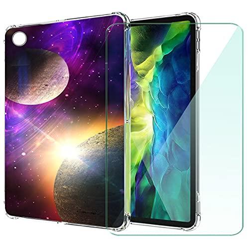 WANCJX Transparente Tablet Funda Compatible para Lenovo Tab M10 HD 2nd Gen (10.10 Pulgada) Carcasa + [1 Pieza] Cristal Templado Film,Antigolpes Caso Cover,HD Cristal Templado Membrana-JX10