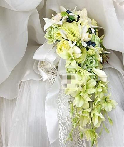 Handgemacht Bouquet Wasserfall Stil Handgemachte Hochzeit Braut Strauß Künstliche Blumen Braut Dekor