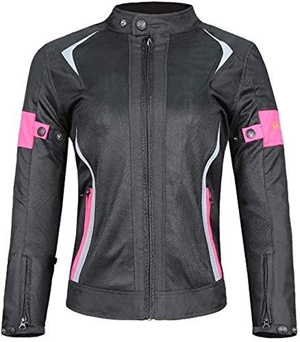 YYSDH Mujeres Corte Ajustado Chaqueta de Moto, Impermeable Ajustable Mantener Caliente Resistente con Armours CE y Reflexivo Cuatro Estaciones Chaqueta para Motocicleta Rosa Negro