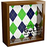 JEEM Golf Gifts for Men   6x6x2 Wooden Shadow Box   Golfing Themed Keepsake with Glass Front   Ideal Gift for Golfer   Special Golfers Present for Fathers Day, Dad or Grandpa   Office or Home Decor