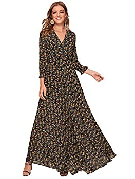 Milumia Women s Floral Print High Waisted Shirred Cuff Long Sleeve Chiffon Flared Flowy Long Maxi Dress Multicolor Large