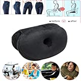 Dual Comfort Cushion Lift Hips Up Seat Cushion, Beautiful Buttocks Latex Cushion Orthopedic Posture Correction Cushion for Relief Sciatica Tailbone Hip PainFits in Car, Home Office (Black)