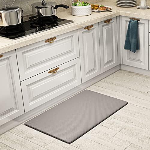 SHANJE Kitchen Mats for Floor,18'x30'Plaid Texture Anti Fatigue Kitchen Rugs,Waterproof Non Slip Cushioned Mat,Comfort Kitchen Rugs for Hardwood Floors-Grey
