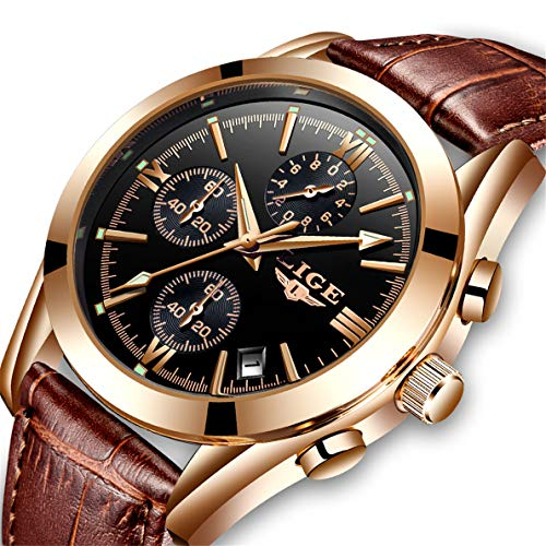 LIGE Mens Watches Leather Analog Quartz Watch Men Date Business Dress Wristwatch Men's Waterproof Sport Clock Gold
