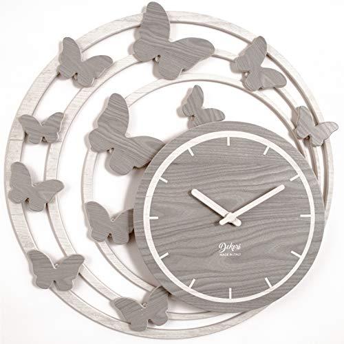 DEKORI - Reloj grande moderno de pared con mariposas, de madera, con diseño único, preciso y silencioso, apto para cocina, salón, fabricado en Italia (Spring - Blanco y gris)