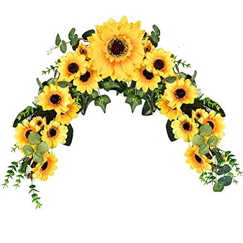 YQing 48cm Swag de Flores Artificiales de Girasol, Guirnalda de Girasol Artificiales Decoracion para Puerta Delantera para Pared, Boda, Decoración del Hogar