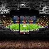 Impression Toile Murale Peintures Pour Décoration De Maison Stade de football du FC Barcelone Tableau 5 Pièces Moderne Encadrée Illustrations Photos Pour Salon Décoration Tirages-78.7x39.5 inch(WxH)