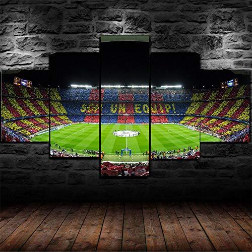 Murosn 5 Piezas Impresión Moderno Grande Decoración De Pared Artística En Cuadros sobre Lienzo Personalizadas Regalo Fútbol FC Barcelona Stadium 150x80cm-Marco