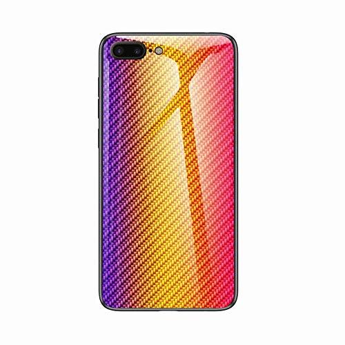 Miagon Glas Handyhülle für iPhone 7 Plus/8 Plus,Kohlefaser Serie 9H Panzerglas Rückseite mit Weicher Silikon Rahmen Kratzresistent Bumper Hülle für iPhone 7 Plus/8 Plus,Gold