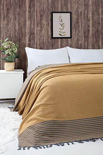 Belle Living Atil Tagesdecke Überwurf Decke - Wohndecke hochwertig - ideal für Bett und Sofa, 100% Baumwolle - handgefertigte Fransen, 200x250cm (Gelb)