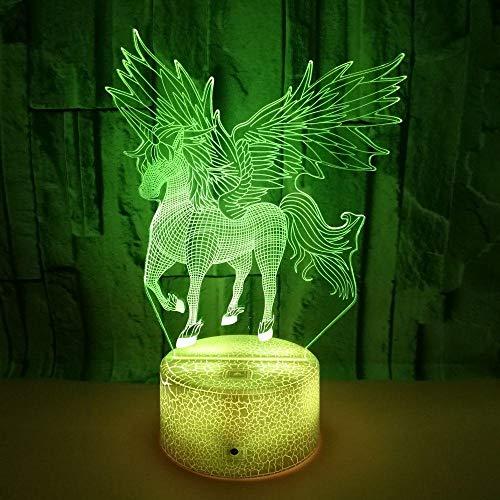 FREEZG luz infantil nocturna Unicornio alas niño 3D Lámpara de Luz 7 Colores Cambian con Control Remoto Regalos para Niños Niñas y Adultos