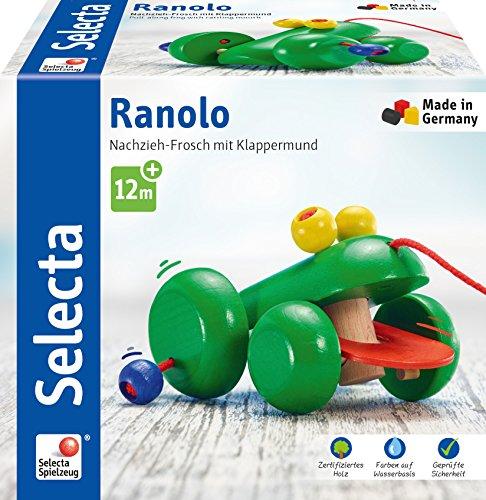 Selecta 62033 Ranolo, Nachzieh Frosch, Schiebe-und Nachziehspielzeug aus Holz, 11 cm
