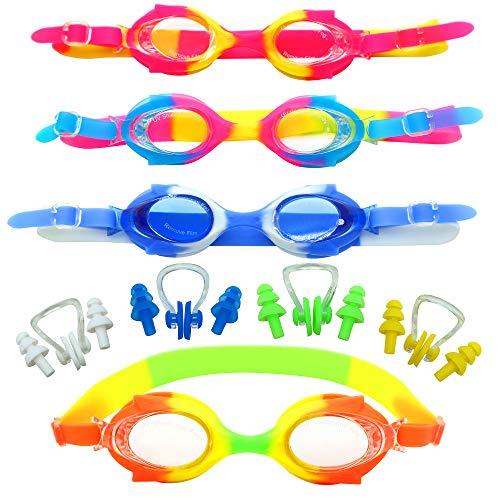 Set van 4 zwembril voor kinderen met oordopjes en neusklemmen, anti-condens, met UV-bescherming, junior, zwembadactiviteiten, training en sport.