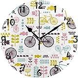 tuobaysj Reloj de Pared Art Paris Pink Bike Reloj de Pared Redondo Placa Circular Relojes silenciosos sin tictac para Cocina Oficina en casa Decoración Escolar Niños Niños Niñas