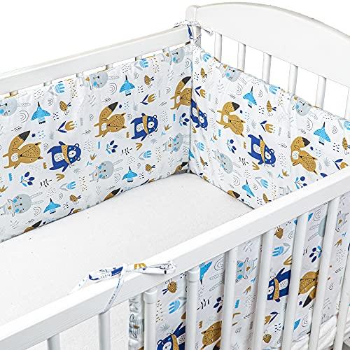 cojin protector cuna - chichonera bebe cuna (Algodón con Motivo de Animales, 180 x 30 cm)