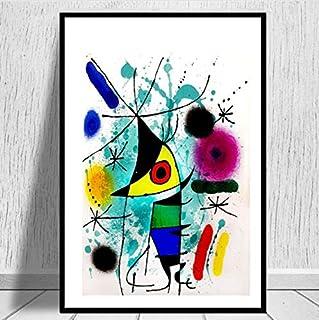 QIANLIYAN Pinturas artísticas Joan Miro Cuadro Abstracto Moderno Cartel Retro e Impresiones Arte de la Pared Lienzo Cuadros de Pared para Sala de Estar Decoración del hogar 40X60 cm sin Marco