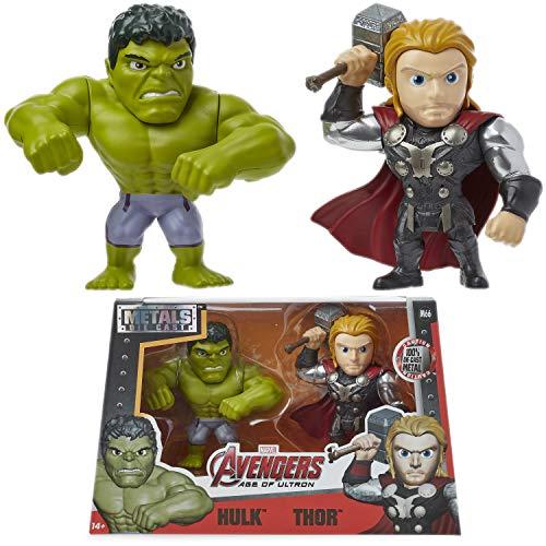Marvel Avengers Figuras Coleccionables Vengadores, Set de 2 Juguetes Figuras de Acción Hulk y Thor Metales, Metals Die Cast Figura, Muñecos Superheroes Regalos para Fans
