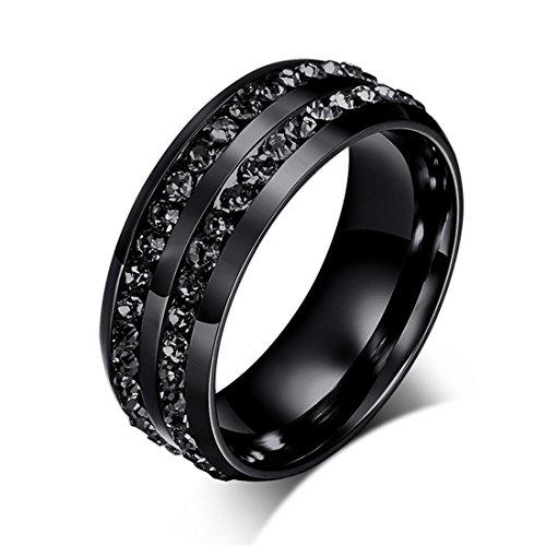 Goodful Schmuck Edelstahl Damen-ring Verlobungs-ring Freundschaftsring Herrenring Partnerring Mit Eternity Band Ring (Schwarz, 67,5-21,5(12))