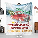 Christmas Throw Blanket Christmas Movie Watching Fleece Blanket Red Truck Merry Christmas Throw Blanket Lightweight Cozy Plush Blanket for Couch Sofa Decor (Christmas Blanket01, 60'x50')