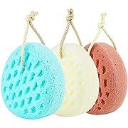 KECUCO 3 Pcs Bath Sponge for Women, Men, Sponge Loofah Body Scrubber Shower Sponge, 3 Colors & Large Size Shower Pouf Cleaning Loofahs Sponge Body Sponges for Shower Exfoliating