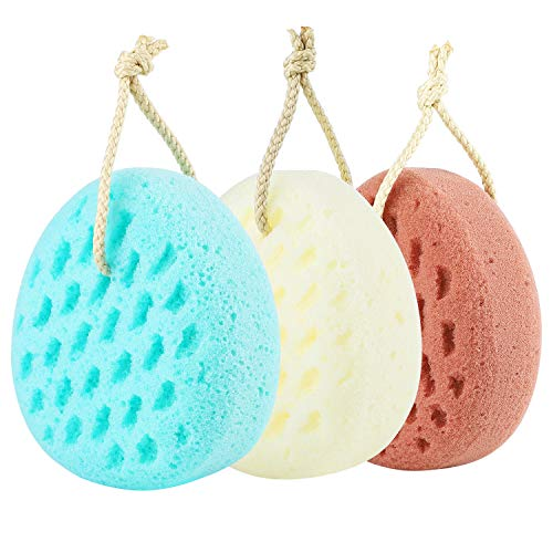 KECUCO 3 Pcs Bath Sponge for Women, Men, Sponge Loofah Body Scrubber Shower Sponge, 3 Colors & Large Size Shower Pouf Cleaning Loofahs Sponge Body Sponges for Shower Exfoliating