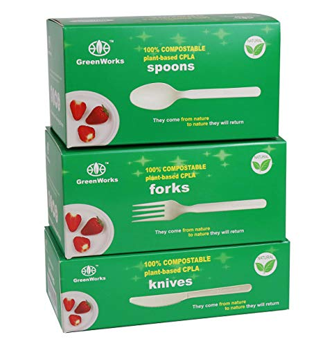 GreenWorks 300 Count 7' Biodegradable Compostable CPLA Cutlery Set,100 Forks 100 Spoons 100 Knives,Large Heavyweight Disposable Bio-based Plastic Cutlery