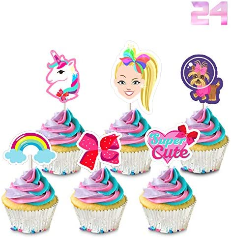 24 Jojo Cupcake Toppers Birthday Party Cake Decorations Unicorn Bow Dog Rainbow Toppers product image