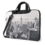 Borsa da viaggio a tracolla per notebook impermeabile leggera in bianco e nero di New York Borsa a tracolla Messenger con cinturino 15,6″