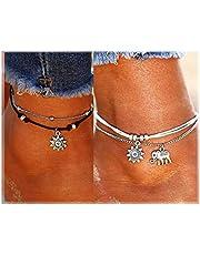 LucBuy Boho Tobilleras, Azul Estrella de Mar Tortuga de múltiples Capas del Encanto de los Granos Playa Hecha a Mano Tobilleras Joyería del pie Regalos para Mujeres niñas (2PCS-Elefante y Girasol)