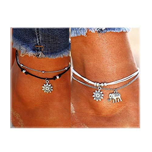 LucBuy Boho Tobilleras, Azul Estrella de Mar Tortuga de múltiples Capas del Encanto de los Granos Playa Hecha a Mano Tobilleras Joyería del pie Regalos para Mujeres niñas (2PCS-Elefante y Girasol) ⭐