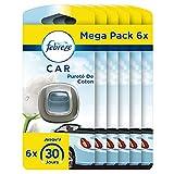 AmbiPur Car Ambientador Coche, Difusor (6 x 2ml), Elimina y Previene los Malos Olores, Fragancia Nubes de Algodón, Mega Pack