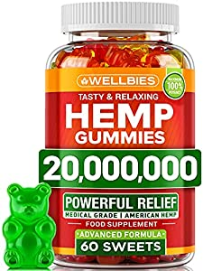 Hemp Gummies - Brain Booster Supplement for Focus, Memory, Clarity, Energy - Made in USA - Omega 3 6 9 - Candy Gummy Bears with Hemp Oil Extract - Mood Support - Gluten Free