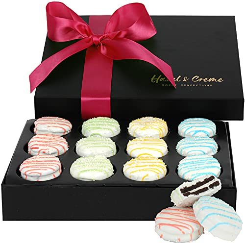Hazel & Creme Chocolate Gift Box - Mothers Day Food Gift - Spring White Chocolate Covered Cookies - Gourmet Birthday Food Gift Basket
