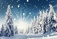 Qinunipoto ビニール 2.1m x 1.5m 写真撮影のための冬の背景自然冬の雪の風景写真の背景冬の雪の森の背景冬の日差しの背景クリスマスフォトスタジオ小道具