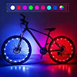 Upgraded 2-Pack Waterproof Color Changing LED Bike Wheel Lights with Batteries and Spoke Clips, 7 Colors 4 Modes and Strobes Great for Gifts